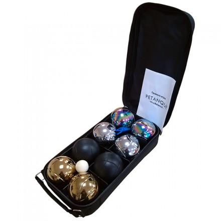 Игра Петанк (Боча) стальной + золотой + черный + радужный - набор из 8 шаров в сумке