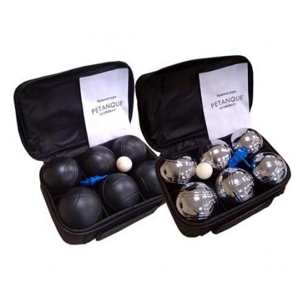 Два набора для игры в петанк -  черный+стальной, 6 шаров черных + 6 шаров стальных