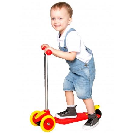 Самокат детский трехколесный, красно-желтый