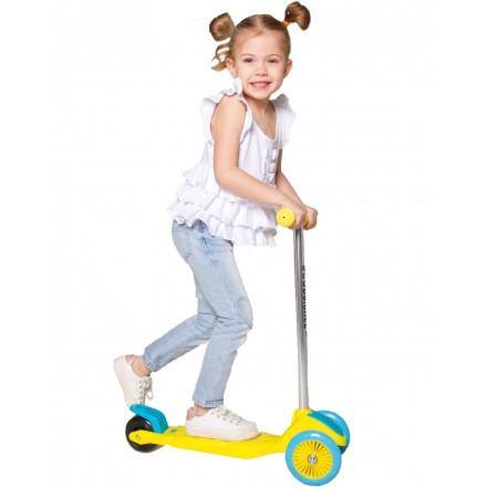 Самокат детский трехколесный, жёлто-голубой
