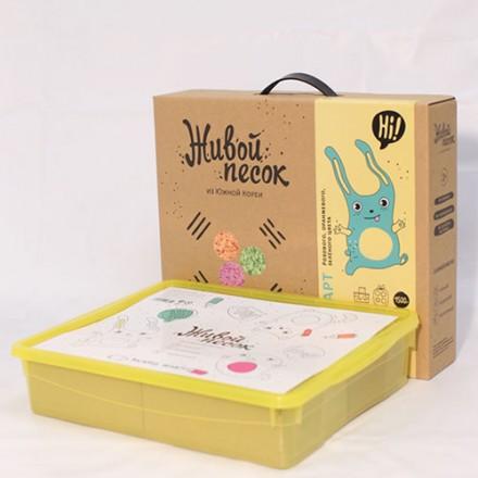 Живой Песок. Стандарт. 1500г. Комплект с песочницей и игрушками для игры. Розовый, оранжевый и зелен